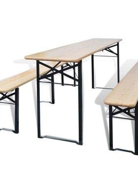 vidaXL Biertafel met 2 bankjes inklapbaar 220 cm