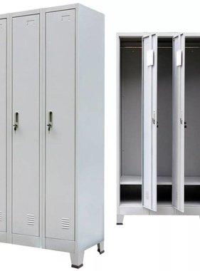 vidaXL Lockerkast met 3 vakken staal 90x45x180 cm grijs