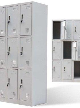 vidaXL Lockerkast met 9 deuren metaal grijs
