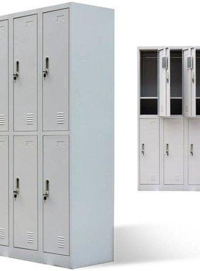 vidaXL Lockerkast met 6 deuren metaal grijs