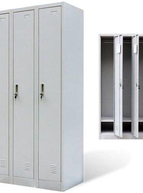 vidaXL Lockerkast met 3 deuren metaal grijs