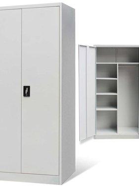 vidaXL Lockerkast met 2 deuren metaal grijs
