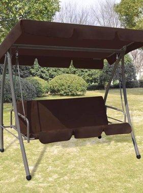vidaXL Hang schommelstoel / schommelbed met luifel voor buiten (Koffie)