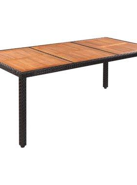 vidaXL Eettafel voor buiten 190x90x75 cm poly rattan en acaciahout