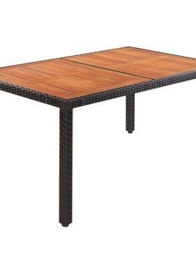 vidaXL Eettafel voor buiten 150x90x75 cm poly rattan en acaciahout