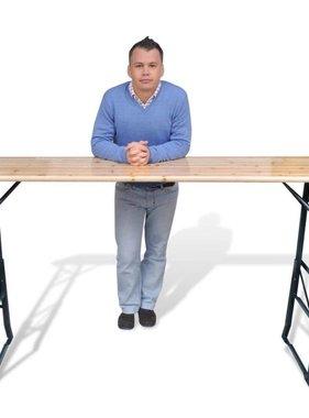 vidaXL Inklapbare biertafel 179x50x75/105 cm dennenhout