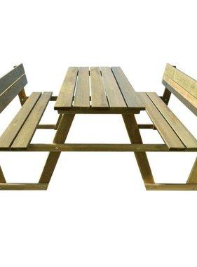 vidaXL Picknicktafel met rugsteun geïmpregneerd grenenhout