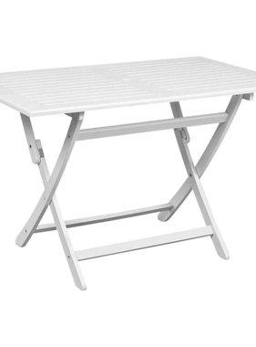vidaXL Eettafel voor in de tuin wit acaciahout rechthoekig