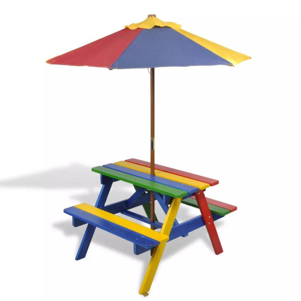vidaXL 4-kleurige kinderpicknicktafel met bankjes en parasol