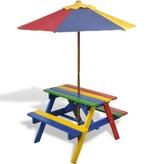 vidaXL Kinderpicknicktafel- en banken met parasol in vier kleuren
