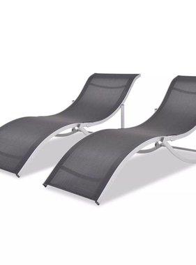 vidaXL Ligbedden inklapbaar aluminium en textileen 2 st
