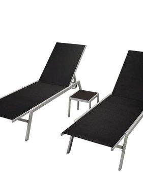 vidaXL Ligbedden 2 st met tafel staal en textileen zwart
