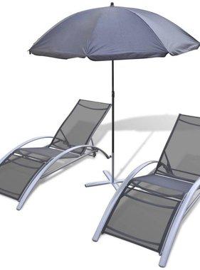 vidaXL Ligbedden met parasol aluminium