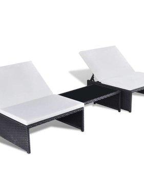 vidaXL Ligbed met tafeltje tweepersoons poly rattan zwart