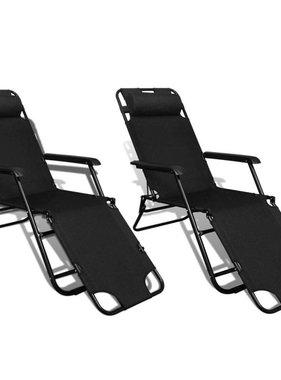 vidaXL Ligstoel met voetensteun inklapbaar en verstelbaar set van 2 (zwart)