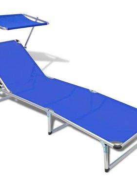 vidaXL Ligbed aluminium frame en textileen blauw