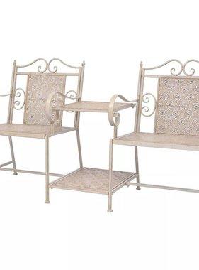 vidaXL Love seat voor in de tuin staal wit