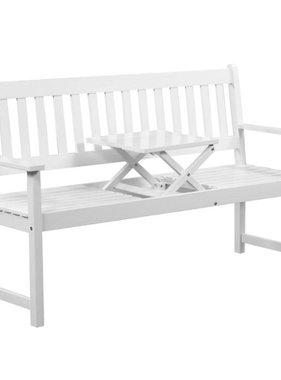 vidaXL Tuinbank met uitklaptafel 158 cm massief acaciahout wit