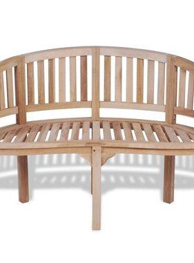 vidaXL Bananenbank teakhout met 2 zitplaatsen 120 cm