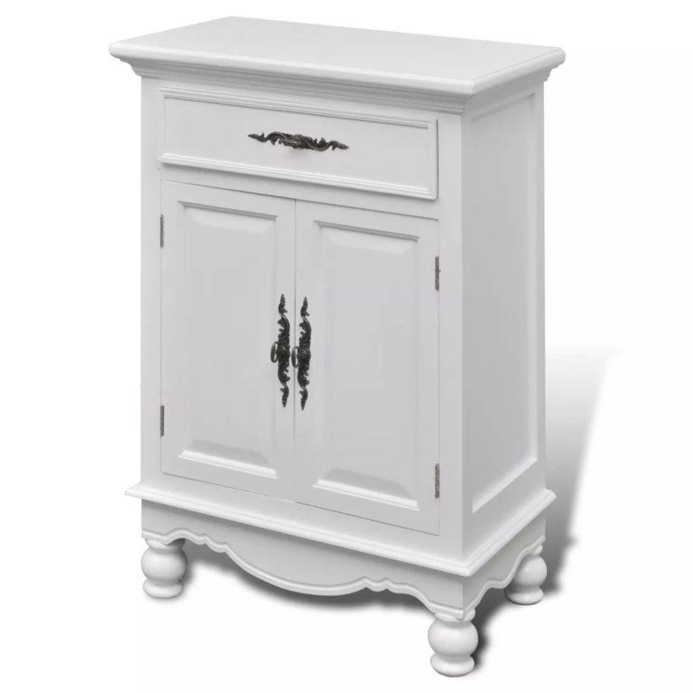 vidaXL Kastje met 2 deurtjes en 1 lade wit hout
