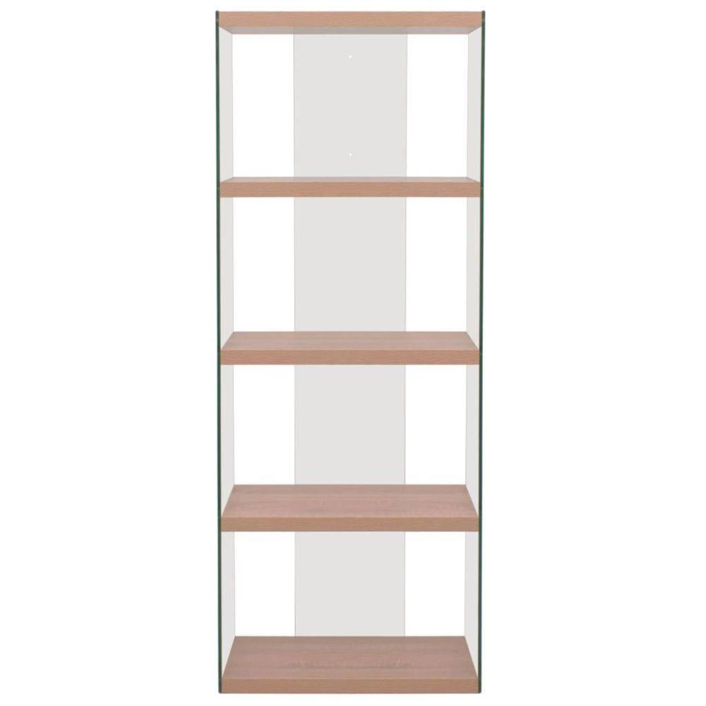 vidaxl boekenkast met 4 schappen glas mdf eikenkleur