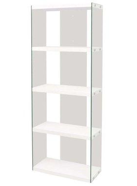 vidaXL Boekenkast met 4 schappen glas MDF hoogglans wit