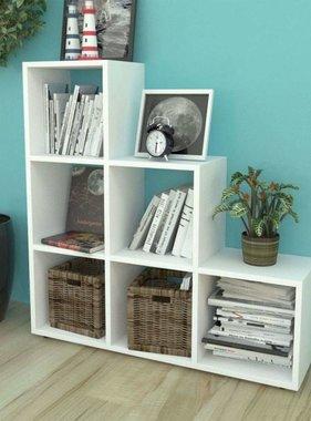 vidaXL Boekenkast/presentatiemeubel trapvormig 107 cm wit