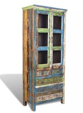vidaXL Boekenkast gerecycled hout met 5 lades en 2 deurtjes