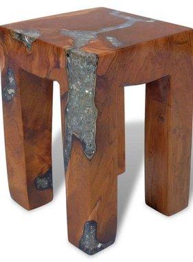 vidaXL Kruk massief teakhout hars 30x30x40 cm