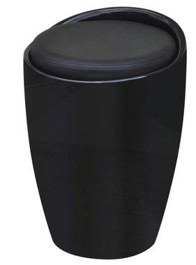 vidaXL Barkruk met afneembare zitting rond kunstleer zwart