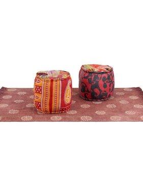 vidaXL Poef- en tapijtset stof patchwork 3-delig