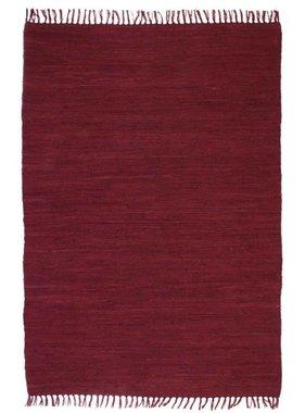 vidaXL Vloerkleed Chindi handgeweven 120x170 cm katoen bordeauxrood