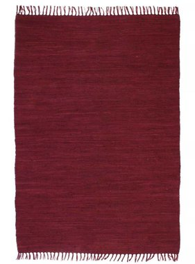 vidaXL Vloerkleed Chindi handgeweven 80x160 cm katoen bordeauxrood