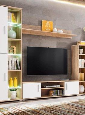 vidaXL Tv-wandmeubel met LED-verlichting Sonoma eiken en wit