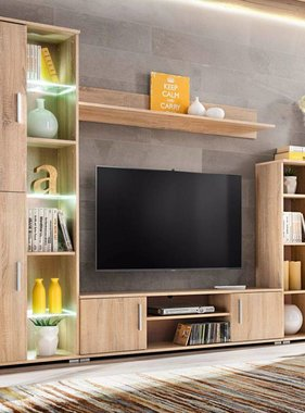 vidaXL Tv-wandmeubel met LED-verlichting Sonoma eiken