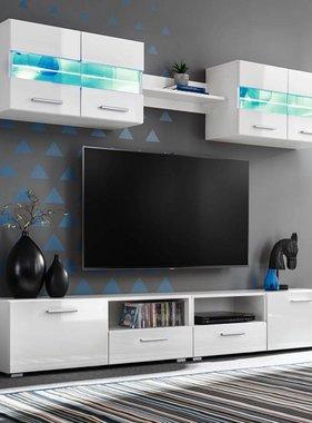 vidaXL Tv-wandmeubelset met LED-verlichting hoogglans wit 5-delig