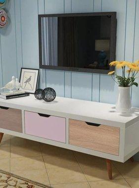 vidaXL Tv-meubel met 3 lades 120x39x39 cm wit