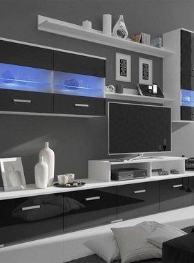 vidaXL Wandkast tv unit led-verlichting zwart 250 cm 7 st