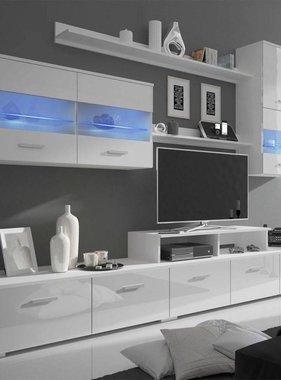 vidaXL Wandkast tv unit led-verlichting wit 250 cm 7 st