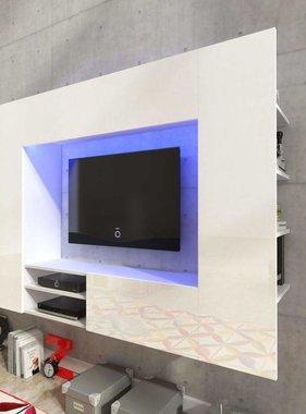 vidaXL Wandmeubel wit hoogglans led voor tv 169,2 cm