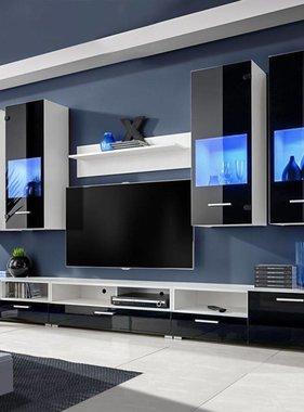 vidaXL Wandkasten tv-unit zwart hoogglans met blauwe led-verlichting 8 st