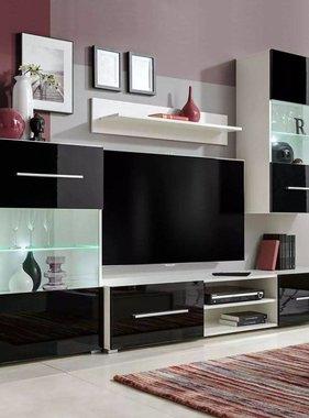 vidaXL Wandkasten tv-unit zwart hoogglans met led-verlichting 4 st