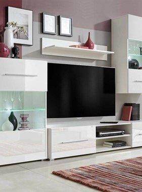 vidaXL Wandkasten tv-unit wit hoogglans met led-verlichting 4 st