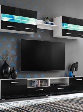 vidaXL Tv-wandmeubelset met LED-verlichting hoogglans zwart 5-delig