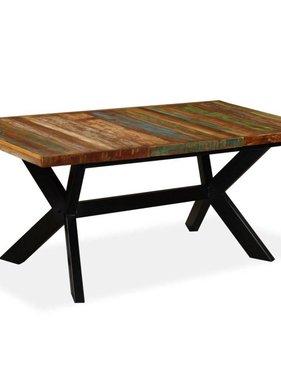 vidaXL Eettafel 180 cm massief gerecycled hout en stalen kruis