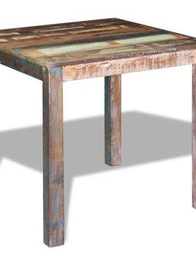 vidaXL Compacte eetkamertafel massief gerecycled hout 80x82x76 cm