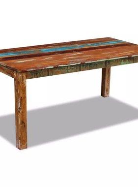 vidaXL Eettafel massief gerecycled hout 180x90x76 cm