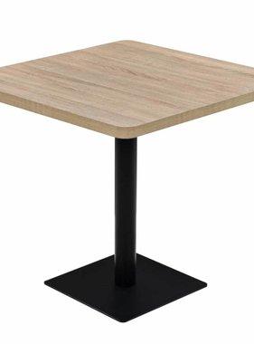 vidaXL Bistrotafel vierkant 80x80x75 cm MDF en staal eikenkleur