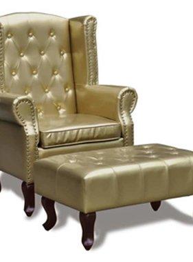 vidaXL Chesterfield fauteuil met hocker (goud)