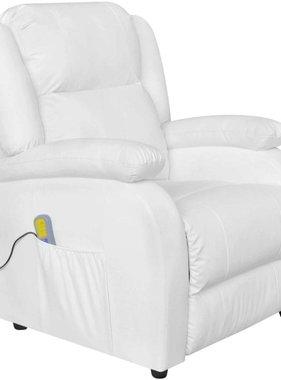 vidaXL Elektrische massagestoel kunstleer wit